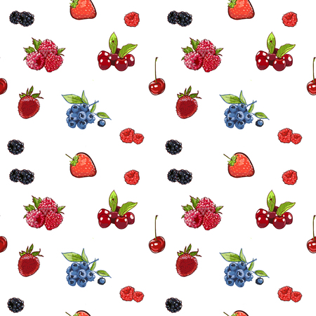 Marker Hand drawn isolated seamless pattern berries on white background banner. Sketched marker food vector. colorful Raspberry, strawberry, cherry illustration. for card, print, template, wallpaper