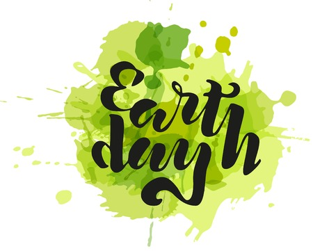 Handwritten lettering text Earth Day with plots. sketched text for postcard banner template. typography for eco friendly ecology concept. World environment background. 스톡 콘텐츠