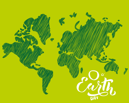 Handwritten lettering text Happy Earth Day. sketched text for postcard banner template. typography for eco friendly ecology concept. World environment background. illustration. 스톡 콘텐츠
