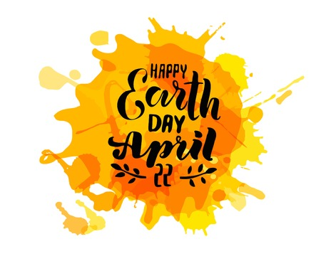 Handwritten lettering text Happy Earth Day. sketched text for postcard banner template. typography for eco friendly ecology concept. World environment background. illustration. Reklamní fotografie