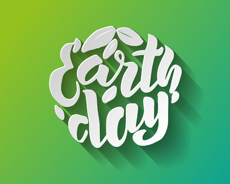 Handwritten lettering text Happy Earth Day. sketched text for postcard banner template. typography for eco friendly ecology concept. World environment background. volume illustration. 스톡 콘텐츠