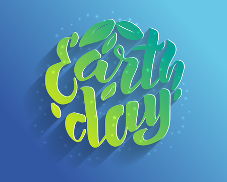 Handwritten lettering text Happy Earth Day. sketched text for postcard banner template. typography for eco friendly ecology concept. World environment background. volume illustration. Фото со стока