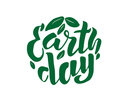 Handwritten lettering text  Earth Day. sketched text for postcard banner template. typography for eco friendly ecology concept. World environment background. illustration. 스톡 콘텐츠
