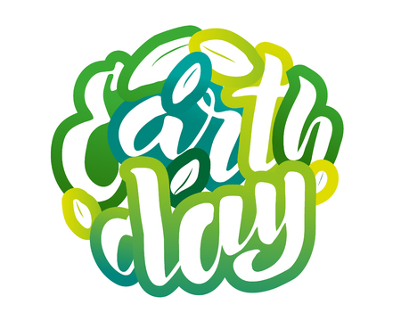 Handwritten lettering text  Earth Day. sketched text for postcard banner template. typography for eco friendly ecology concept. World environment background. illustration. Фото со стока