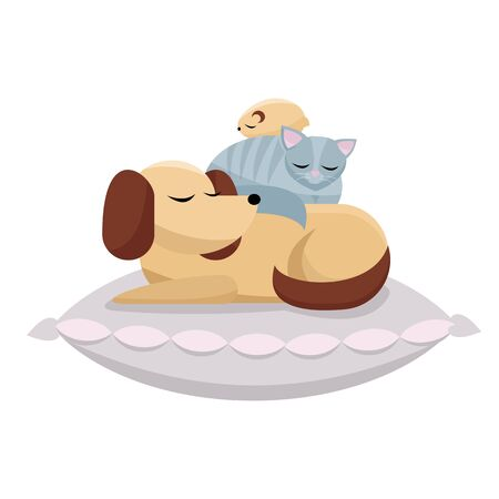 Flat cartoon illustration cat and hamster sleeps comfortably on dog. Sweet dreams of furry friends. Cute best friends sleeping dog, cat, hamster on pink pillow on white background
