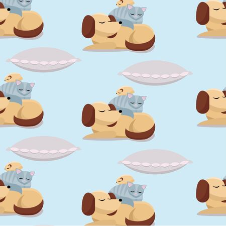 Seamless pet Pattern Flat cartoon illustration cat and hamster sleeps on dog. Sweet dreams of furry cute best friends sleeping dog, cat, hamster on pink pillow on blue background