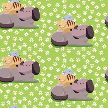 Seamless pet Pattern Flat cartoon illustration cat and chinchilla sleeps on dog. Sweet dreams of furry cute best friends sleeping dog, cat, chinchilla on green background with daisy