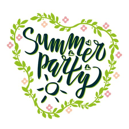 Summer party lettering Handwritten calligraphy, brush painted letters with floral pattern. Inspirational text in illustration. Stok Fotoğraf - 129471970