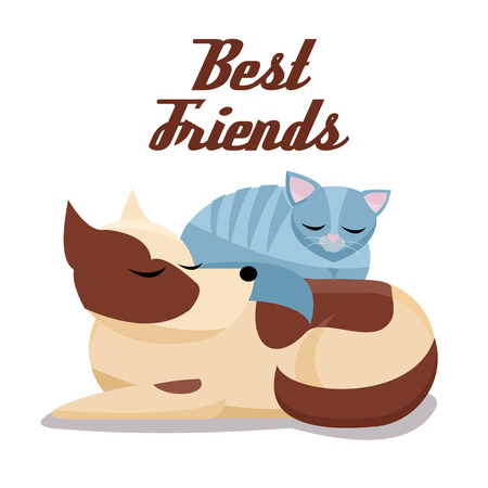 Flat cartoon illustration cat sleeps comfortably on dog. Sweet dreams of furry pets. Cute best friends sleeping brown dog and grey cat on white background Фото со стока