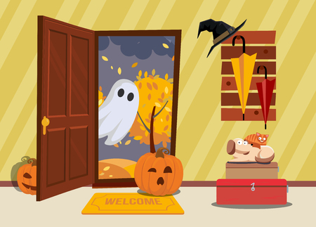 Halloween house interior. cat and dog are afraid of pumpkin and ghosts come through door in hallway. door is open, outside is dark, umbrellas and witchs hat hanging on rack. Flat cartoon illustration