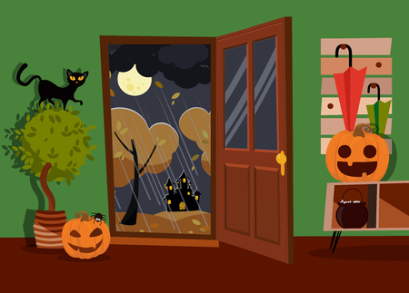 Halloween interior of hallway decorated with pumpkins faces, boiler and spider with open door to street. Black cat on home plant. Moon landscape, yellow trees, rain. Flat cartoon illustration