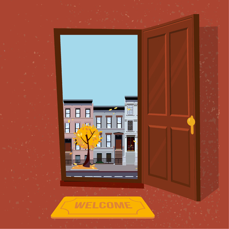 Open door into autumn rain city evening view with yellow trees. Door mat in room. Flat cartoon style illustration. Three-four-story uneven colorful houses, foliage. Street cityscape.