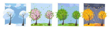 Four seasons landscape. Summer, fall, spring and winter trees. Different times of year. Set of four non-parallel pictures with view of nature. Flat cartoon illustration. Trees with round crown Stock Photo