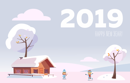 flat card 2019 Happy new year. white snowy winter landscape with small country house and snow covered trees on the snow-covered hills in the snowing woods with children playing snowball fights. 스톡 콘텐츠