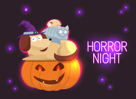 Horror Night neon sign . Halloween Poster Design template neon sign, Horror light banner, neon signboard, nightly bright advertising. Cute Halloween pets, cat, hamster, dog with frightened faces