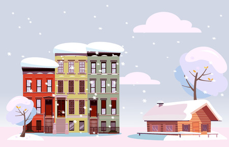 Winter Urban and Countryside Landscape. Citiscape versus suburb. Urban landscape with three-story houses and suburb with private house. Flat illustration. Cloudy snowy day Stok Fotoğraf