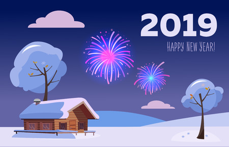 Flat card with fireworks over snowy winter hills landscape with country house with inscription 2019 Happy new year in purple-blue colors. Holiday at county house. Sky full of firework lights