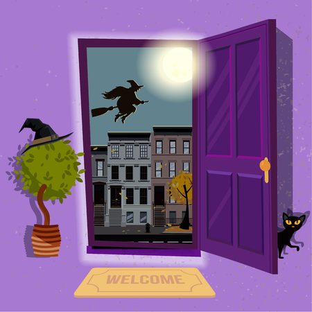halloween Witchs house. Open door to purple hallway with hat at home plant and black cat at door. Urban landscape with a huge moon and silhouette of witch over houses roofs. Flat cartoon illustration 스톡 콘텐츠