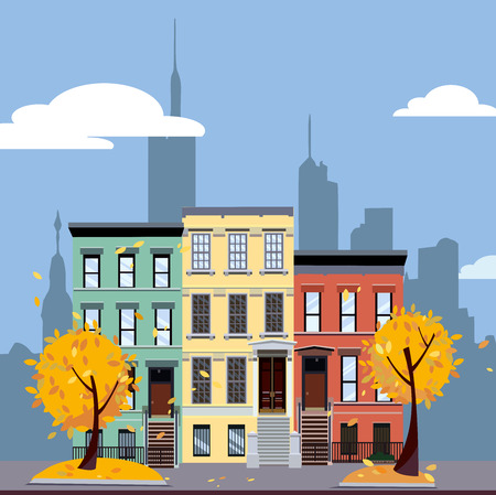 Multicolored multi-party cozy houses on background of skyscrapers of business center of city. Flat cartoon illustration of Autumn city landscape. Street cityscape with yellow leaves.
