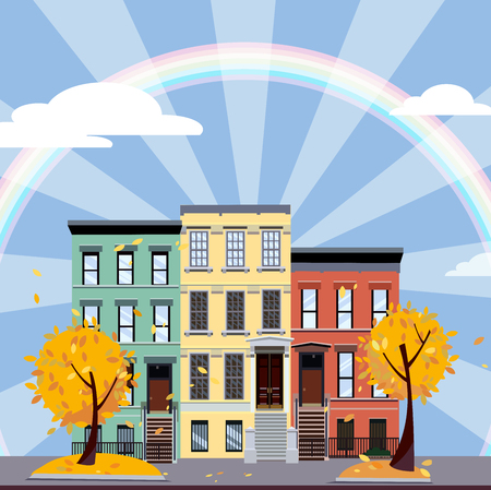 Multicolored multi-party houses in the center of rays and under the rainbow. Flat cartoon illustration of Autumn city landscape. Three-four-story colorful houses under clouds. Street cityscape. Фото со стока