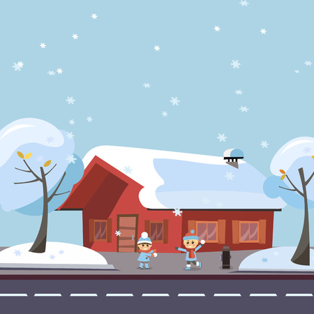 Flat winter scene children playing snowball fights. Happy kids boy and girl playing snowball fight game in front of the snowy house and trees by the road at Winter Season. Holiday banner, card
