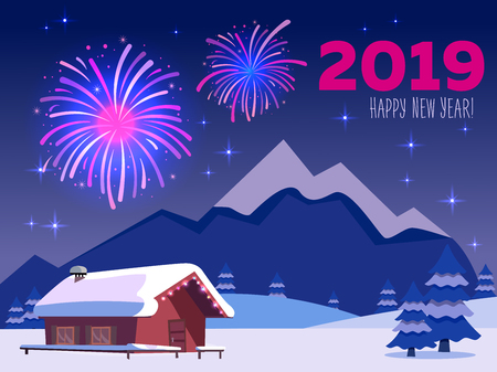 Flat card with fireworks over mountain landscape with country house with inscription 2019 Happy new year in purple-pink colors. Holiday at the ski resort. Sky full of firework lights and stars Stock Photo