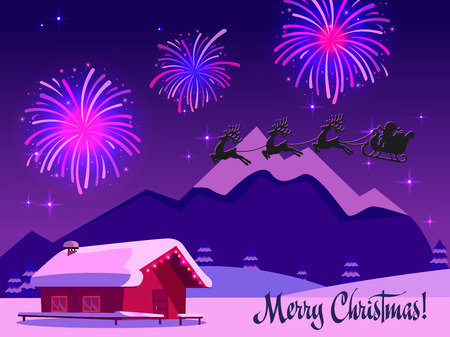 Night winter landscape illustration with sky full of firework lights. Silhouette of Santa Claus sleigh with deers in sky. Card with text merry christmas in purple-pink colors. Holiday at ski resort. Stock Photo