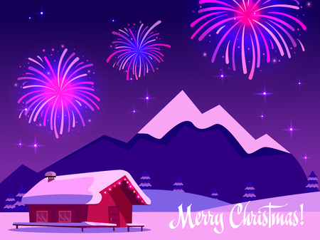 Flat illustration of fireworks over the mountain landscape with a one-story country house. Greeting card with the inscription merry christmas in purple-pink colors. Holiday at the ski resort.