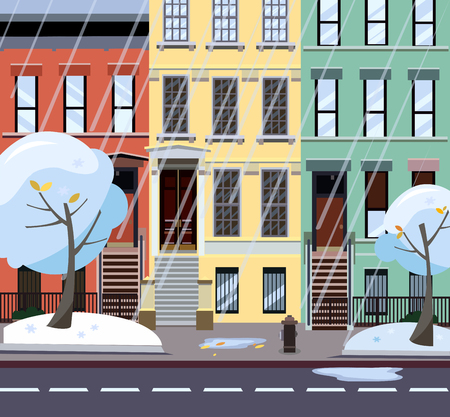 Flat cartoon illustration of winter rainy city street. Three-four-story uneven colorful houses. Street cityscape. Afternoon city landscape with snowy trees in the foreground, puddles Фото со стока