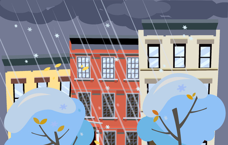 Flat cartoon illustration of winter snowy city street. Dark clouds over the roofs of houses, it is snowng. Street of town with bright colorful houses. Winter twilight in the city background
