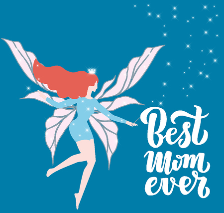 Quote Best mom ever Excellent holiday greeting card. illustration for Mothers Day. Modern hand lettering and calligraphy. For flyer, card, poster, banner, printing, mailing.10 스톡 콘텐츠