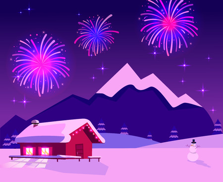 Flat illustration of fireworks over mountain landscape with one-story country house with lighting windows. Purple-pink colors of night. Holiday at ski resort. Cozy place with space and snowman