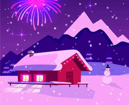 Flat illustration of fireworks over mountain landscape with one-story country house with lighting windows. Purple-pink colors of night. Holiday at ski resort with snowman and snowfall. Stock Photo
