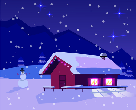 Christmas snow-covered landscape with a small house with lighting windows decorated with a garland of light bulbs and a snowman. Mountain dark blue landscape with snowfall and a starry sky.