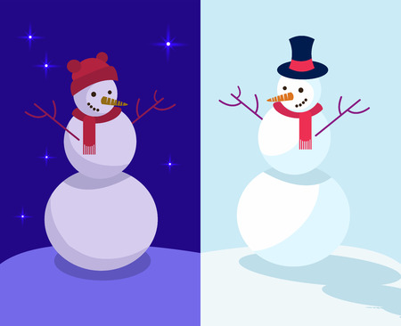Set of two winter holidays Funny Snowmen at day and night. Emotional characters in funny hats are happy, White, blue, red flat illustration in cartoon style. Snowman by day and snowman by night