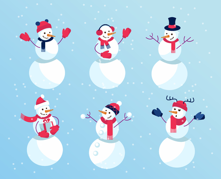 Funny Snowmen. Set of winter holidays snowman. Cheerful with gift 스톡 콘텐츠