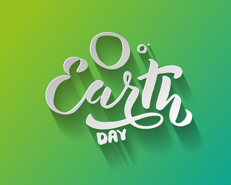 Handwritten lettering text Happy Earth Day. sketched text for postcard banner template. typography for eco friendly ecology concept. World environment background. illustration. Фото со стока