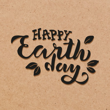 Handwritten lettering text Happy Earth Day. sketched text for postcard banner template. typography for eco friendly ecology concept. World environment background. illustration cork background