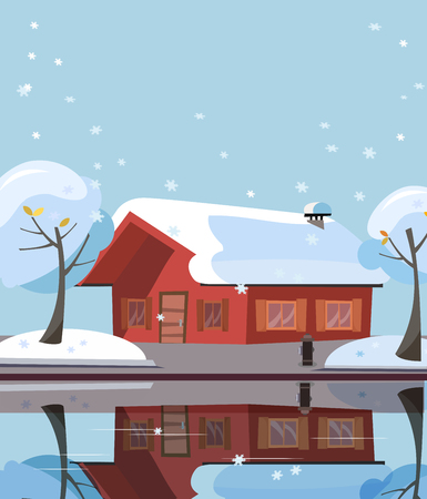 Wooden country house on lake. Building facade is reflected in mirror surface of water. Flat cartoon illustration of winter suburb landskape with private house, snowy trees. Free spase for text 스톡 콘텐츠