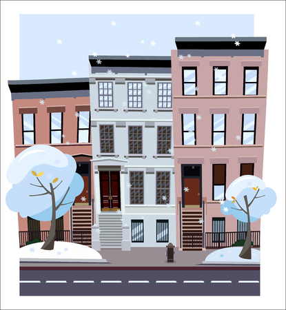 Nonlinear houses look out of the picture. Flat cartoon style winter city street. Tree houses flying snowflakes. Street cityscape. Day city landscape with snow-covered trees in the foreground