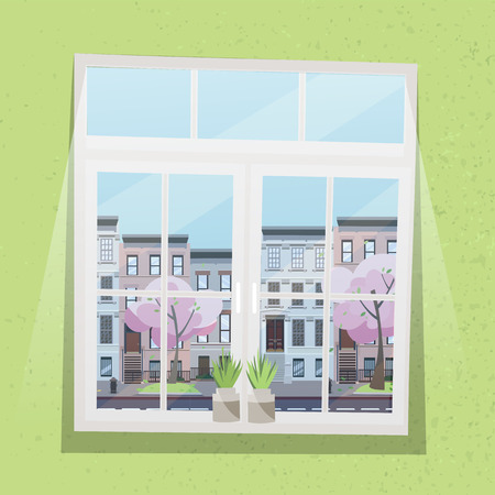 Window with view of houses on street with road in town, pink trees in blossom. Spring interior with plants and textured light green wallpaper. Sunny weather outside. Flat cartoon illustration. Фото со стока