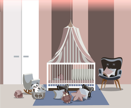Baby room interior for girl with white furniture, bed with canopy, wardrobe, easy chair, toys and pillows on the floor in flat style. Modern dusty pink nursery design. illustration. Stockfoto