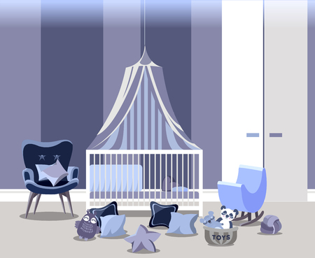 Baby room interior for boy with white furniture in flat style. Modern blue nursery design. illustration.
