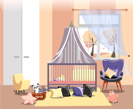 Newborn kid or nursery room interior flat illustration of bedroom furniture. Childrens room in warm yellow pink colors with toys, easy chair, bed with canopy, window with autumn landscape