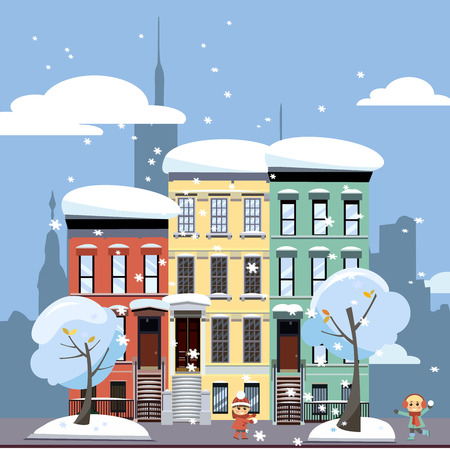 Multicolored multi-party cozy houses on background of skyscrapers of business center of city. Flat cartoon illustration of winter city landscape. Street cityscape with playing children girl boy