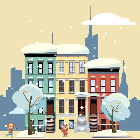 Multicolored multi-party cozy houses on background of skyscrapers of business center and gloomy yellow winter sky. Flat illustration of winter city landscape. Street cityscape with playing children 스톡 콘텐츠