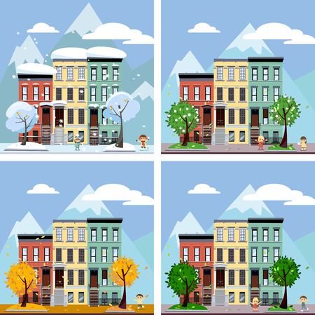 Four seasons in the city, illustration. Summer, fall, spring and winter cityscape. Different times of year. European City Urban Landscape with Vintage Houses and Trees with playing children