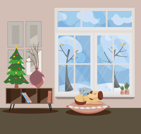 Window overlooking winter snow-covered trees. Gray wall, little New Year christmas tree and table with vases, sleeping cat and dog in the interior. Flat cartoon illustration.
