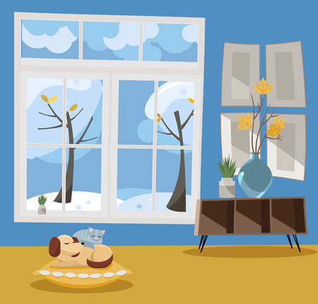 Window overlooking winter snow-covered trees. Winter interior sleeping cat and dog, shelf, vase with branches in blue and yellow colors. Nonparallel objects. Snow weather outside. Flat cartoon
