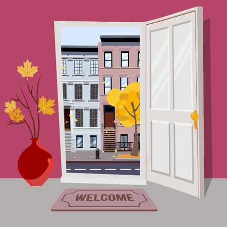Open door into autumn city day sunny view with yellow trees. Door mat, vase with branches. Flat cartoon textured pink illustration. Three-four-story uneven colorful houses. Street cityscape.